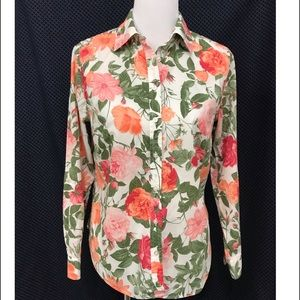 Talbots Floral Print Long Sleeve Top Size PM